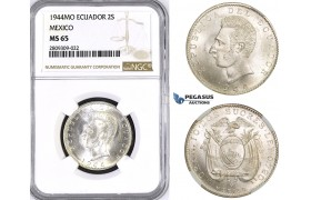 ZM398, Ecuador, 2 Sucres 1944, Mexico City, Silver, NGC MS65