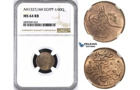 ZM399, Ottoman Empire, Egypt, 1/40 Qirsh AH1327/6-H, Heaton, NGC MS64RB