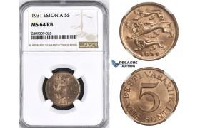 ZM404, Estonia, 5 Senti 1931, NGC MS64RB