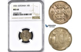 ZM406, Estonia, 10 Senti 1931, NGC MS64
