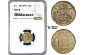 ZM407, Estonia, 10 Senti 1931, NGC MS63