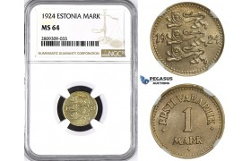 ZM409, Estonia, 1 Mark 1924, NGC MS64
