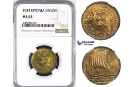 ZM411, Estonia, 1 Kroon 1934, NGC MS63