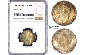 ZM417, Greece, George I, 1 Drachma 1868-A, Paris, Silver, NGC MS65, Rare so nice!