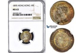 ZM420, Hong Kong, Victoria, 10 Cents 1895, Silver, NGC MS63, Rainbow