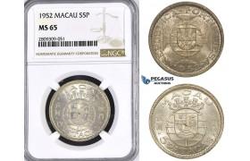 ZM424, Macau (Portuguese Colony) 5 Patacas 1952, Silver, NGC MS65