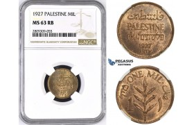 ZM427, Palestine, 1 Mil 1927, London, NGC MS63RB