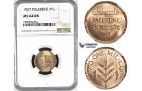 ZM428, Palestine, 1 Mil 1927, London, NGC MS64RB (Undergraded)