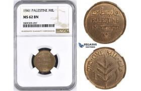 ZM429, Palestine, 1 Mil 1941, London, NGC MS62BN