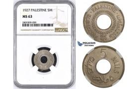 ZM431, Palestine, 5 Mils 1927, London, NGC MS63