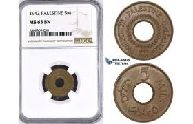 ZM432, Palestine, 5 Mils 1942, London, Bronze, NGC MS63BN