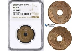 ZM433, Palestine, 10 Mils 1942, London, Bronze, NGC MS63BN