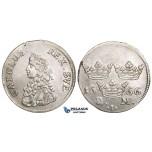 ZM438, Sweden, Karl XI, 2 Mark 1666, Stockholm, Silver (10.37g) SM 111a, Lustrous AU