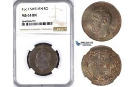 ZM439, Sweden, Carl XV, 5 Öre 1867, Stockholm, NGC MS64BN