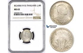 ZM443, Thailand, Rama VI, 1/4 Baht BE2458 (1915) Silver, NGC MS63