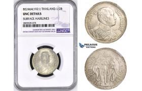 ZM444, Thailand, Rama VI, 1/2 Baht BE2464 (1921) Silver, NGC UNC Details