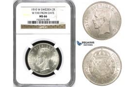 ZM454, Sweden, Gustaf V, 2 Kronor 1910 W, Stockholm, Silver, SM 4b, NGC MS66 (Pop 1/1)
