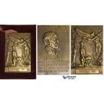 ZM464, France & United States, Bronze Plaque Medal 1937 (80x52mm, 198g) by Dejeau, Carnegie, Lifesaving