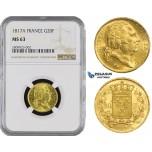 ZM481, France, Louis XVIII, 20 Francs 1817-A, Paris, Gold, NGC MS63