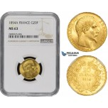 ZM485, France, Napoleon III, 20 Francs 1854-A, Paris, Gold, NGC MS63