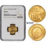 ZM499, France, Third Republic, 20 Francs 1871-A, Paris, Gold, NGC MS65