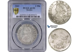 ZM513, Sweden, Karl XI, 2 Mark 1661 GW, Stockholm, Silver, SM88var., Inner beads, PCGS AU53, Rare!