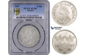 ZM518, Sweden, Karl XI, 2 Mark 1667, Stockholm, Silver, SM115, PCGS AU50