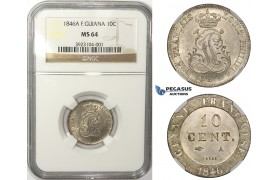 ZM51, French Guiana, Louis Philippe I, 10 Centimes 1846-A, Paris, Silver, NGC MS64