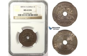 ZM52, French Indo-China, 1 Centime 1897-A, Paris, NGC MS63BN