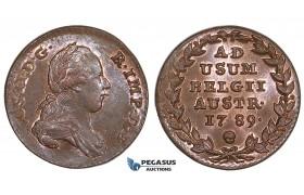 ZM534, Austrian Netherlands, Joseph II, 2 Liards 1789, Brussels, Red UNC