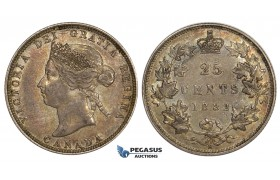 ZM535, Canada, Victoria, 25 Cents 1882-H, Heaton, Silver, Rainbow toned AU