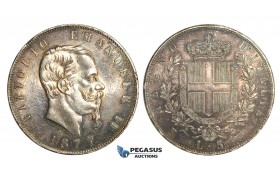 ZM540, Italy, Vit. Emanuele II, 5 Lire 1877-R, Rome, Silver, Toned AU