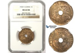 ZM54, French Indo-China, 1 Centime 1920, San Francisco, NGC MS64RB