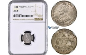 ZM556, Australia, George V, Threepence (3P) 1915, Silver, NGC MS61, Rare!