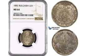 ZM559, Bulgaria, Alexander, 1 Lev 1882, St. Petersburg, Silver, NGC MS64