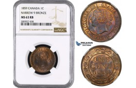 ZM565, Canada, Victoria, 1 Cent 1859, NGC MS63RB (Narrow 9)