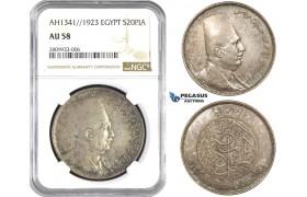 ZM568, Egypt, Fuad, 20 Piastres 1923, Silver, NGC AU58
