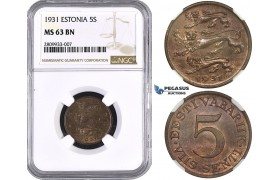 ZM569, Estonia, 5 Senti 1931, NGC MS63BN