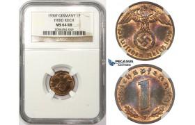ZM57, Germany, Third Reich, 1 Reichspfennig 1936-F, Stuttgart, NGC MS64RB, Rare!
