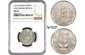 ZM574, Estonia, 1 Kroon 1933, Silver, NGC MS65