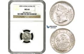 ZM585, Hong Kong, Victoria, 5 Cents 1890, Silver, NGC MS64
