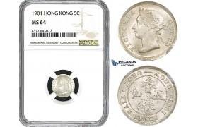 ZM586, Hong Kong, Victoria, 5 Cents 1901, Silver, NGC MS64
