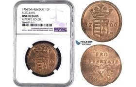 ZM587, Hungary, Rebellion, X Poltura 1706 CM, Kosice, NGC UNC Det.