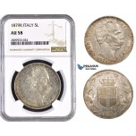 ZM588, Italy, Umberto I, 5 Lire 1879-R, Rome, Silver, NGC AU58