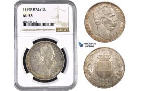 ZM588, Italy, Umberto I, 5 Lire 1879-R, Rome, Silver, NGC AU58