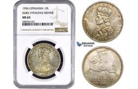 ZM596, Lithuania, 10 Litu 1936, Silver, NGC MS63