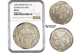 ZM597, Netherland, Kampen, Lion Daalder 1685, Silver, NGC MS62