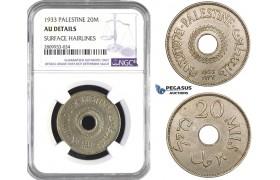 ZM602, Palestine, 20 Mils 1933, NGC AU Det.