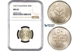 ZM603, Palestine, 50 Mils 1927, Silver, NGC MS62