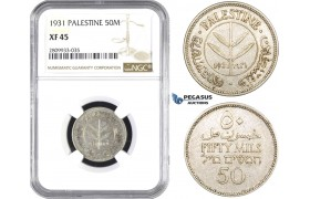 ZM605, Palestine, 50 Mils 1931, London, Silver, NGC XF45